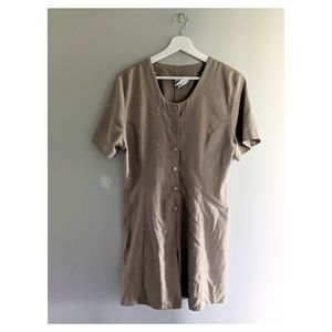 Vintage beige romper with button front